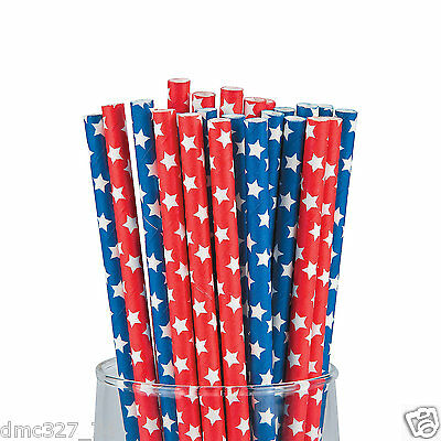 24 4th of July PATRIOTIC Party Supply PAPER Drinking Straws Red Blue STARS PRINT