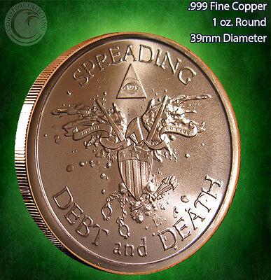 """/""""2013 Warbird Spreading Debt /& Death/""""  1oz .999 Copper Round Limited /& Rare"""