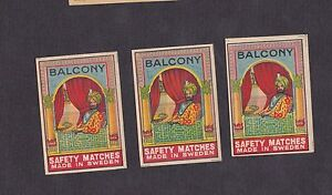 3 Anciennes étiquettes Allumettes Suède Bn13527 Balcony Inde Homme O8zqhyah-08005958-959351620