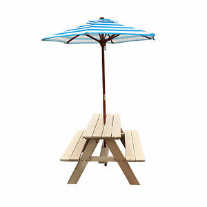 Kids Picnic Outdoor Portable Camping Table With Folding Umbrella ...