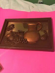 Coppercraft Guild Fruit Themed 3d Copper Art Kitchen Decor Wall Picture Vintage Ebay