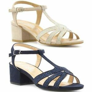 NEW LADIES WOMENS DIAMANTE SLINGBACK FANCY LOW WEDGE STRAPPY SANDALS SHOES SIZE