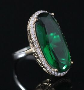 925-Sterling-Silver-Handmade-Authentic-Turkish-Emerald-Ladies-Ring-Size-6-9