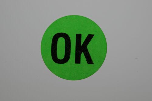 """Signalfarbe 100 Stück Prüf Etikett /""""DEFEKT/""""oder /""""OK/"""" 20 mm  Etiketten rund"""
