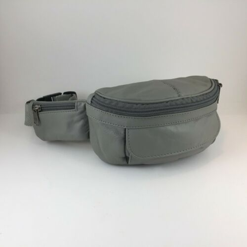 Gray Leather Belt Bag Waist Pack/Hands Free Bag/Le