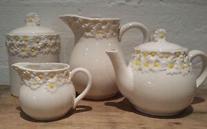 Gisela-Graham-Ceramica-MARGHERITE-gamma-di-Latte-Brocca-CONTENITORE-Daisy-Fiore-SUGAR-BOWL