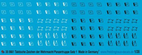 Peddinghaus-Decals !//35 0661 Taktische Zeichen Wehrmacht Panzertruppe Satz 1