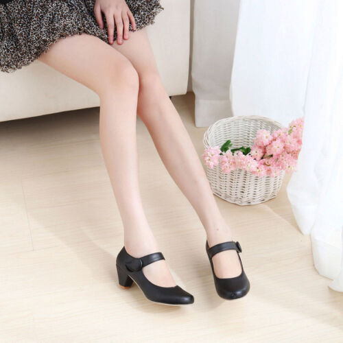 Details about  /New Cute Women/'s Round Toe Low Heels Lolita Mary Jane Lady Shoes Plus Sz