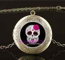 Vintage Sugar Skull Owl Cabochon Glass Brass Chain Locket Pendant Necklace