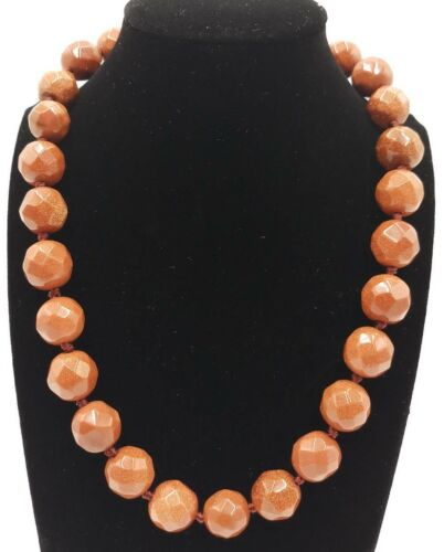 Faceted 14mm Goldstone Gemstone Round Beads Necklace 18/'/' AAA