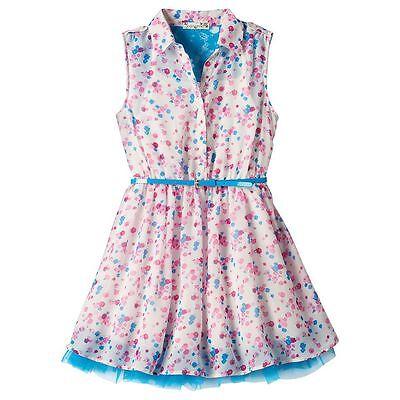 NWT Girls LILT Belted Lace Back Chiffon Mesh Hem Shirt Dress Blue Pink 7 8 10 12