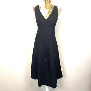 M&S Per Una Dress 10 Regular Black Midi Aline Fit Flare Floaty Sundress Empire