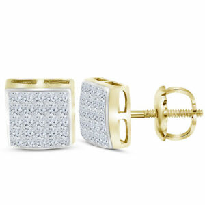 14k-Yellow-Gold-Womens-Princess-Diamond-Square-Cluster-Stud-Earrings-5-8-Cttw