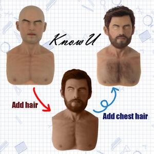 Männliche Silikon-Kopfbedeckungen Cosplay Crossdress mit Haar und Schnurrbart