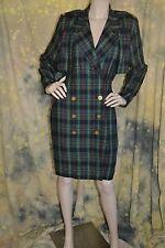 vtg 80s 90s HIGHLAND GREEN plaid dress or belted JACKET 8 M gold buttons