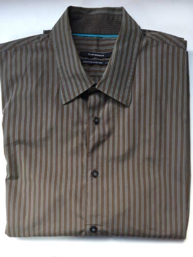 Club Monaco Men's Brown Striped Long Sleeve Button Front Shirt Large L