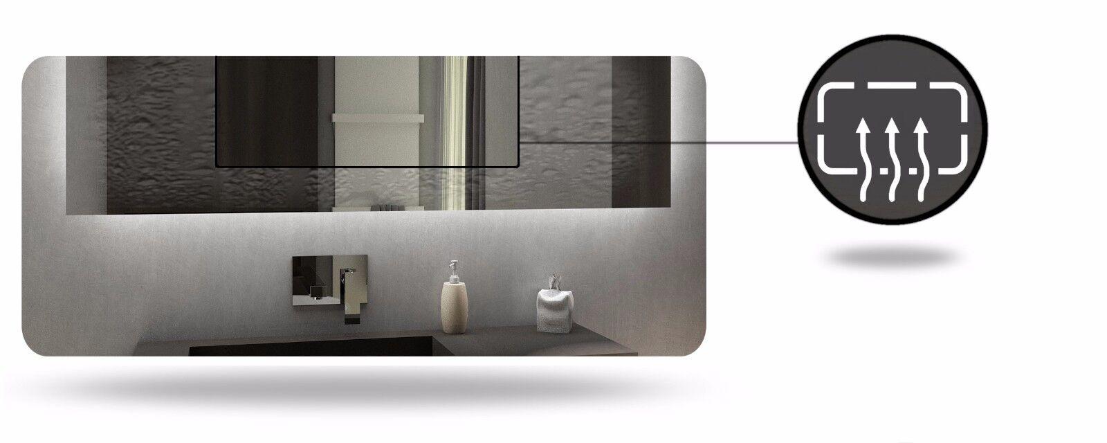 Badspiegel Badspiegel Badspiegel mit LED Beleuchtung   Uhr   Wetterstation   Schalter   Touch   Birma 852e0b