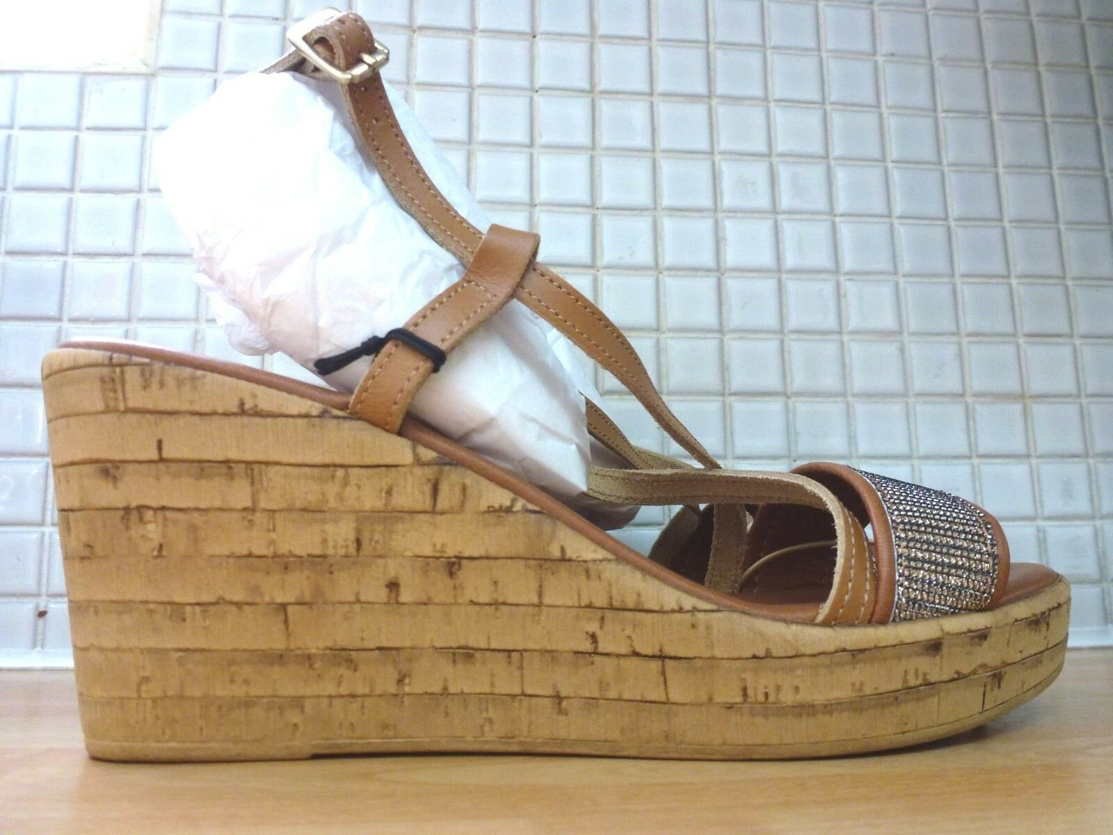 Debenhams Collection Candy Glitter Lea Wedge Sandals Size 6 39 BNWT  Tan