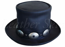 Handmade Genuine Black Leather Hat GUNS N ROSES SLASH Western Style Mens Top Hat