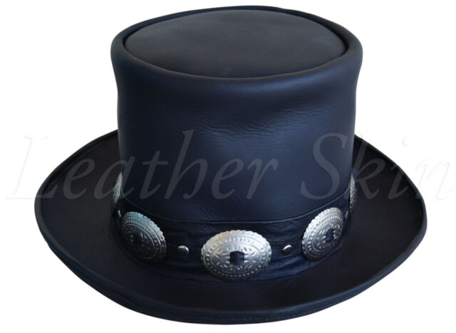 a59629147c4 Handmade Genuine Black Leather Hat GUNS N ROSES SLASH Western Style Mens  Top Hat
