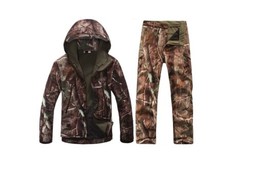 New Hunting Clothing Jacket /& Pants set Waterproof Hooded Camouflage Clothes