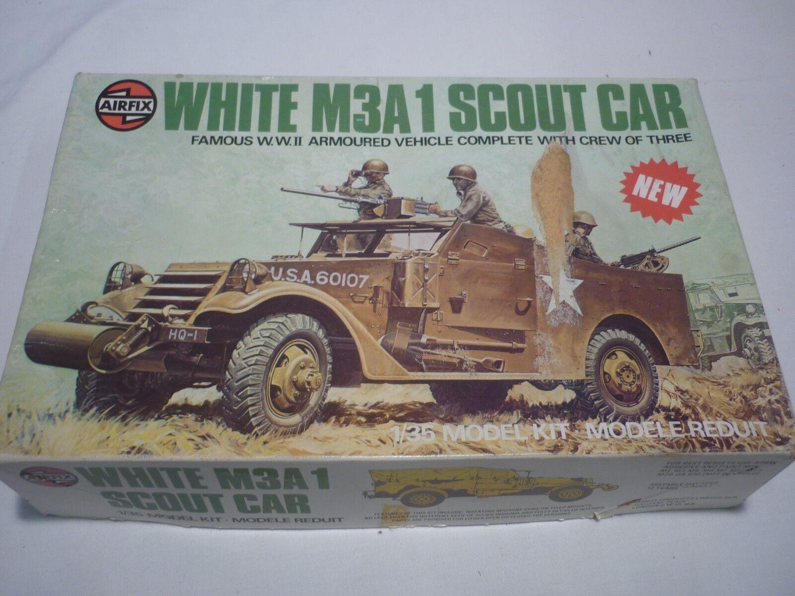A vintage Airfix un made plastic kit of a White M3A-1 Scout car,  boxed