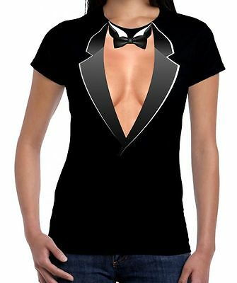 TUXEDO CLEAVAGE WOMEN'S FANCY DRESS T-SHIRT -  Hen Do Party Funny (Large, Black)