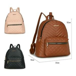 Women-039-s-Designer-Style-Quilted-Fashionable-Girls-Rucksack-Ladies-Backpack