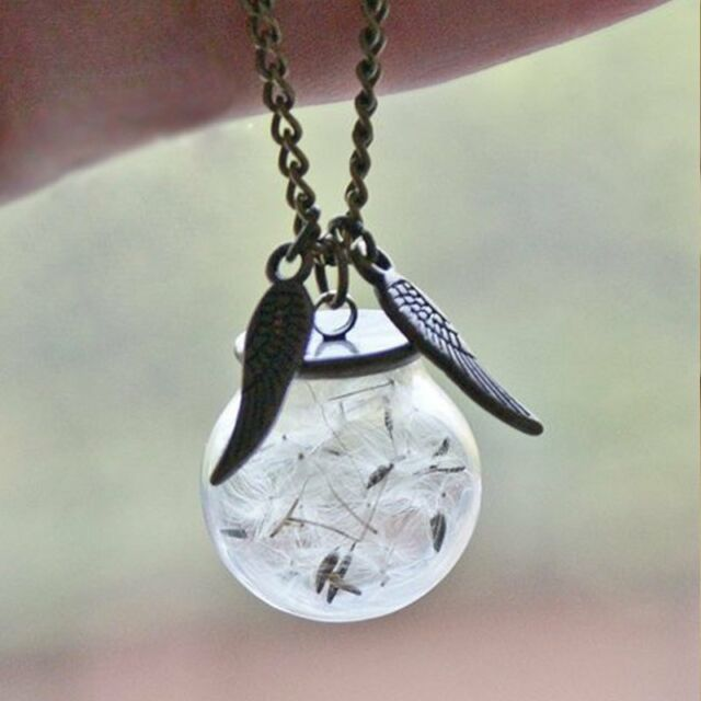 Handmade Real Dandelion Seed Dried Flower Wing Glass Bottle Orb Pendant Necklace