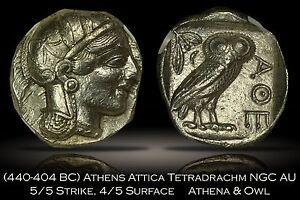 Ancient Athens Attica 440-404 BC Tetradrachm NGC AU 5/5 4/5 Beautiful Athena Owl