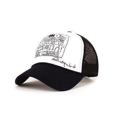 Unisex Mens Womens Basquiat graffiti Mesh Baseball Cap Trucker Snapback Hats