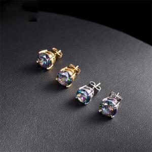 6mm-8mm-cristal-circon-joyeria-cuadrado-colorido-pendientes-compromiso-Aretes