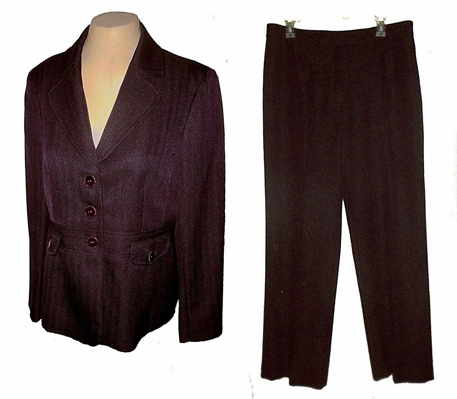 Nouveau 2-PC Costume  Pantalon Blazer, Evan-Picone, tweed lila Western Business 12