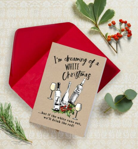 Pack of 10 /'White Christmas/' White Wine Themed Christmas Xmas Greeting Cards