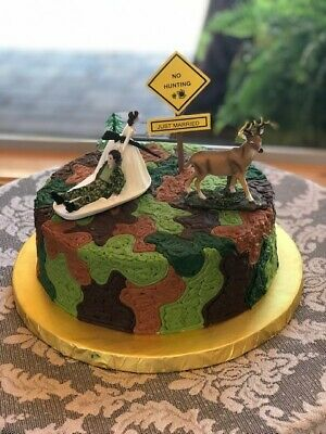 Excellent Wedding Reception Party Deer Camo Hunter Hunting Cake Topper Funny Birthday Cards Online Inifofree Goldxyz