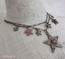 Vintage Danish PILGRIM Multi Strand Necklace STAR Charm Gold Pink Swarovski BNWT
