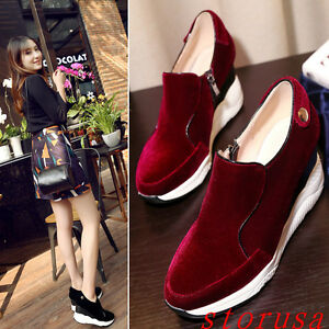 2018-Women-Casual-Wedge-Heel-Shoes-Platorm-Comfort-Shoes-Pull-On-Velvet-Shoes-sz