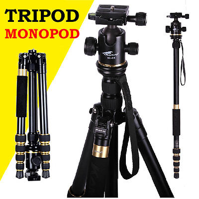 Camera Tripod Monopod Ball Head Carry Bag Fits Nikon Canon Sony DSLR SLR Photo