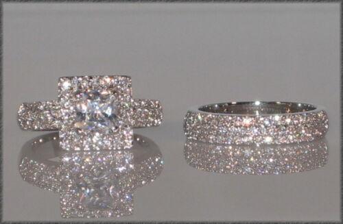 SIZE 5 PRINCESS CUT Cubic Zirconia Platinum Engagement Wedding Ring Set 3 Ct