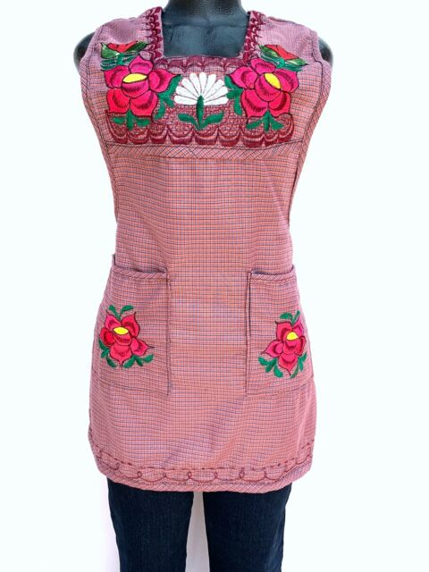 Large Mexican Blue Brown Floral Embroidered Multipurpose Women Top Mandil Apron