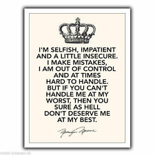 "METAL SIGN WALL PLAQUE ""I'M SELFISH IMPATIENT"" Marilyn Monroe Quote print poster"
