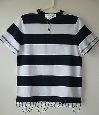 HANNA ANDERSSON Bold Stripe Henley Tee Shirt Navy White 140 10 NWT