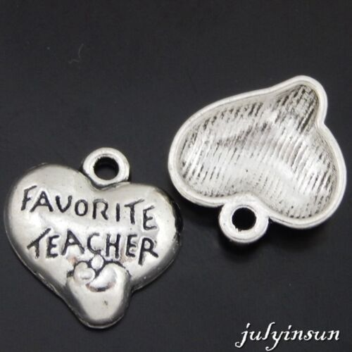 Antique Silver Alloy Engraved Words Heart Pendants Charms Crafts 15pcs 50569