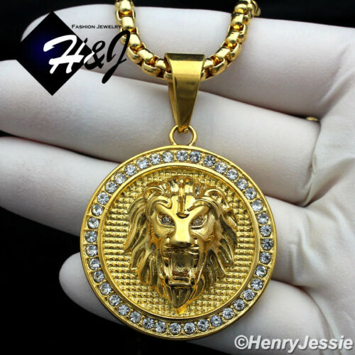 "20/""MEN Stainless Steel 4mm Gold Box Link Chain Necklace ICED LION Pendant*GP109"