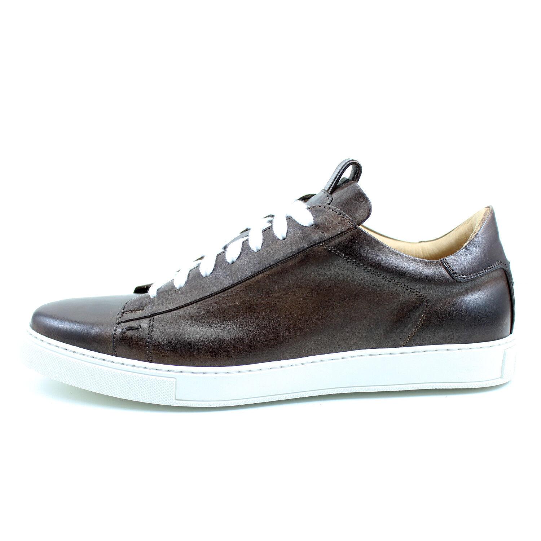 SNEAKERS UOMO MARRONI scarpe casual fatte a mano pelle GIORGIO REA ITALIA pelle mano 7729MA 236d61