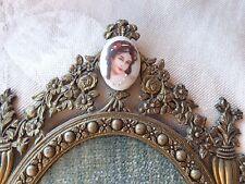 VINTAGE FRENCH STYLE LADY PORTRAIT PORCELAIN GOLD GILT METAL DECORATIVE FRAME