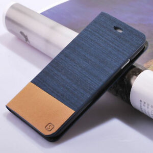 newest 9d4a3 0fc2f Details about For Xiaomi Redmi 4A Note 4X Flip Wallet Leather Case Denim  Canvas+Rubber Cover K
