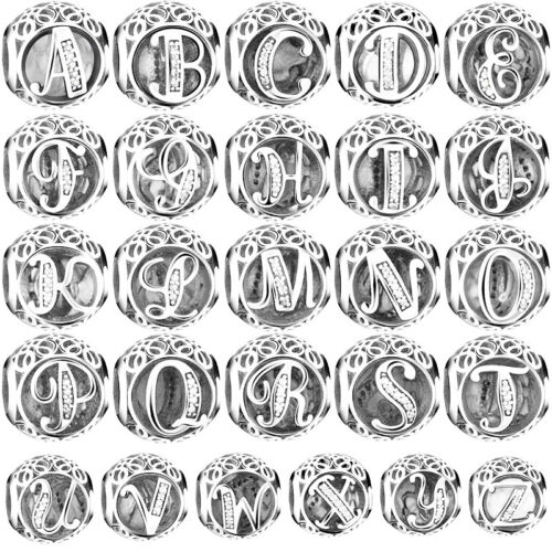 26 Letters 925 Silver Charms Bead For European Charm Bracelet Necklace Chain