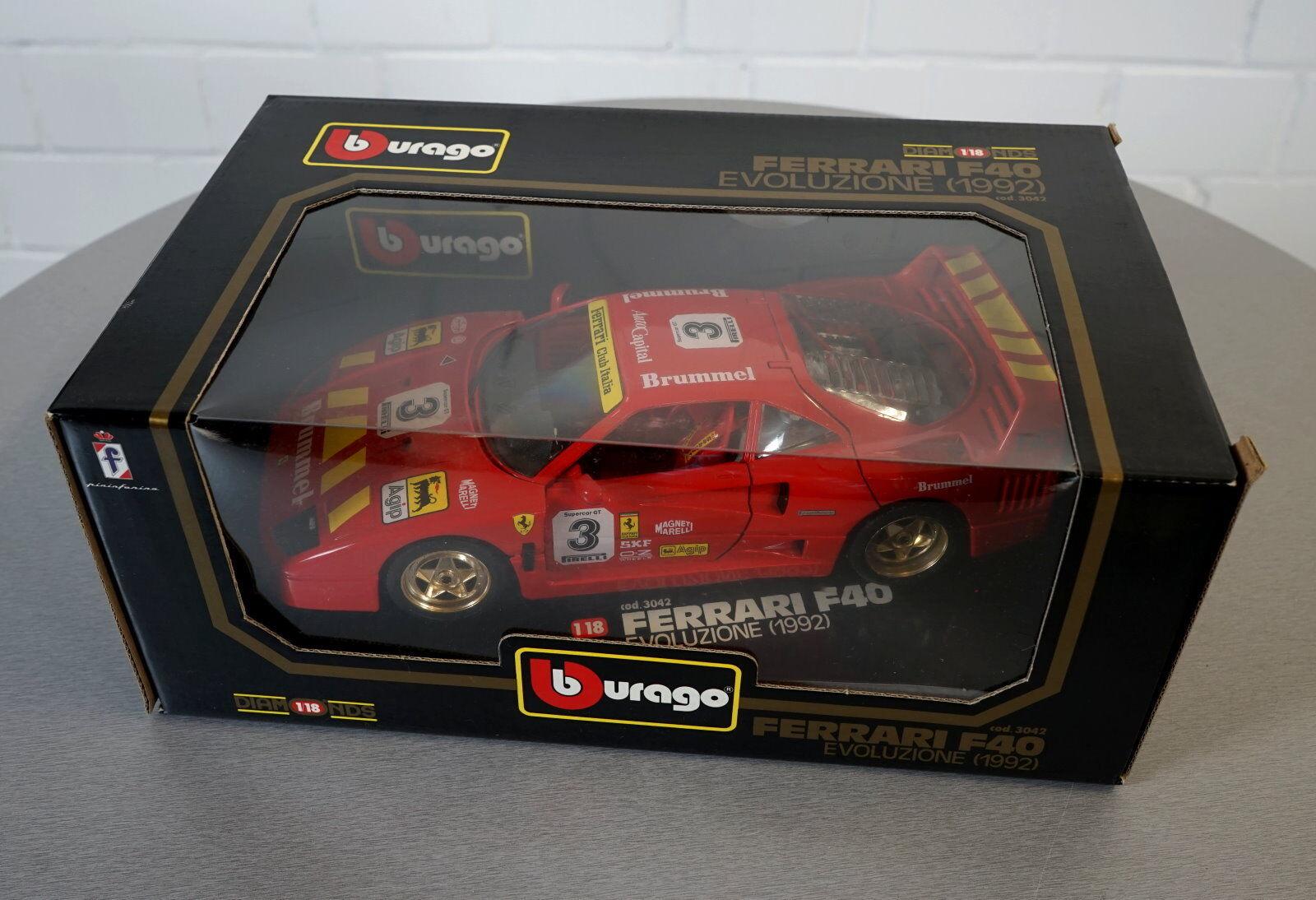Burago 1 18 ferrari f40 evoluzione 1992 rosso -3042 - la-Cast modelo coche nuevo embalaje original