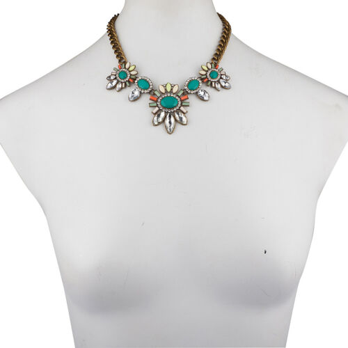 Lux Accessories Turquoise Blue Green Antique Tribal Statement Necklace